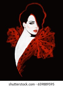Fashion illustration. Woman in red dress