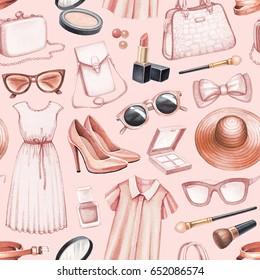 Fashion illustrations. Seamless pattern