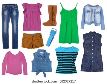 Fashion jeans bright set collage clothes isolated.Female clothing wear collection.