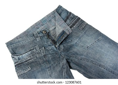 Fashion jeans close-up isolated on white
