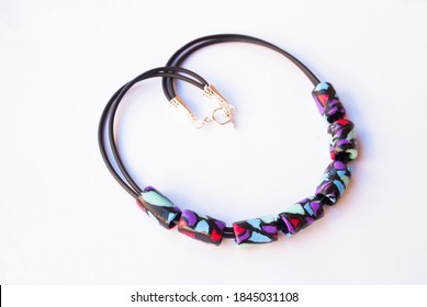 Fashion jewelry background. Colorful necklace.