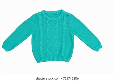 Fashion knitted handmade pullover (sweater) for the baby (boy or girl)/ Baby clothes/ Knitting / Hobby / Close up/ Flat lay