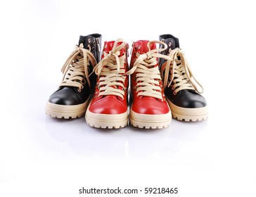 fashion  leather shoes red and black
