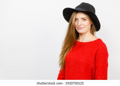 Fashion looks beauty feminine concept. Elegant girl in hat. Young blonde lady with long hair wearing glamour headwear.