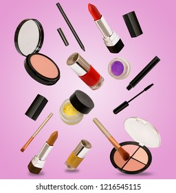 Fashion and makeup products falling from sky on ground pink background template