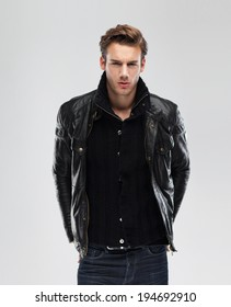 Royalty Free Man Leather Jacket Images Stock Photos Vectors