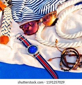 Fashion man items for the beach. Summer concept. Top view. Holiday background