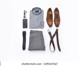 Fashion. Men's accessories and clothes set. Top view