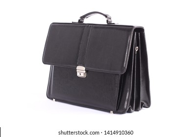 Fashion men's leather bag, briefcase, diplomat, for office, for laptop, isolated on white background, clipping path, for design, mock up, black