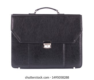 Fashion men's leather bag, briefcase, diplomat, for office, for laptop, isolated on white background, clipping path, for design, mock up, black. Front view