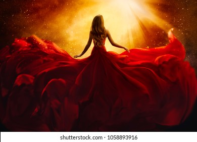 Fashion Model Back Side in Red Flying Dress, Woman Rear View, Gown Fabric Fly on Wind, Beautiful Girl Looking to Light