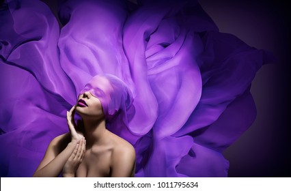 Fashion Model Beauty Art, Beautiful Woman Face with Purple Cloth Blind on eyes, Blindfolded Girl Fantasy