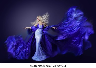 Fashion Model Beauty, Fly Dress Fabric on Wind, Fluttering Art Silk Cloth, Woman Hairstyle Waving on Wind