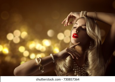 Fashion Model Beauty Jewelry Portrait, Elegant Woman Jewellery Hairstyle Makeup, Beautiful Girl Long Hair