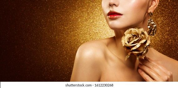 Fashion Model Beauty Make Up, Beautiful Woman hold Gold Flower Rose and Luxury Golden Makeup