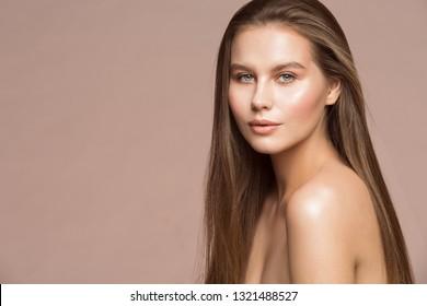 Fashion Model Beauty Makeup, Beautiful Woman Long Hair Wet Skin Make Up, Young Girl Studio Portrait