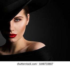 Fashion Model Beauty Portrait, Elegant Woman in Black Hat, Beautiful Lady Lips Eyes Make Up
