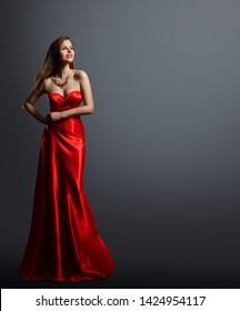 Fashion Model Beauty, Woman in Red Dress Full Length Portrait, Long Silk Evening Gown
