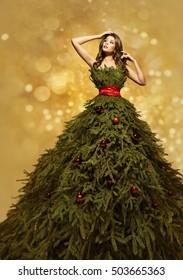 Fashion Model Christmas Tree Dress, Woman Xmas Gown, New Year Clothing Decoration