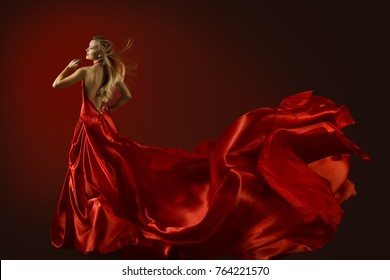 Fashion Model Dance in Red Dress, Dancing Beautiful Woman, Flying Fluttering Fabric, Happy Girl Rear Back View