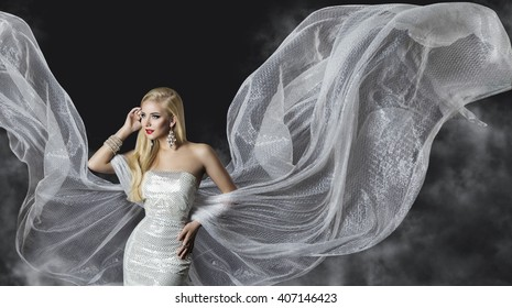 Fashion Model Dress, Woman Flowing Cloth Wings, Beautiful Girl with Flying Silver Fabric