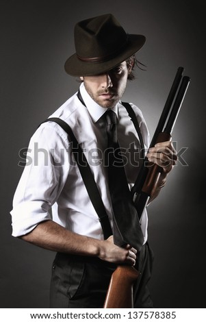 fashion model dressed like gangster poses stock photo edit now