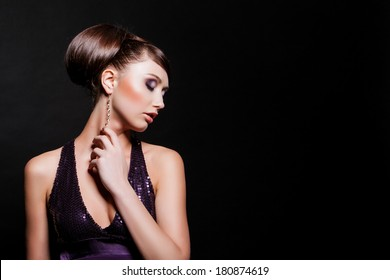 fashion model with evening make-up. Jewelry and Beauty. Fashion photo