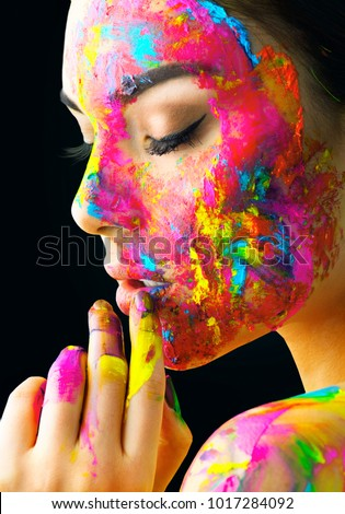 fashion model girl colorful face paint stock photo edit now 1017284092 shutterstock. Black Bedroom Furniture Sets. Home Design Ideas