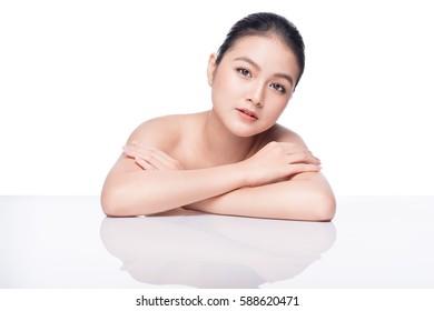 Fashion Model Girl Face. Beautiful Young Asian Woman with Clean Fresh Skin. Perfect Skin.