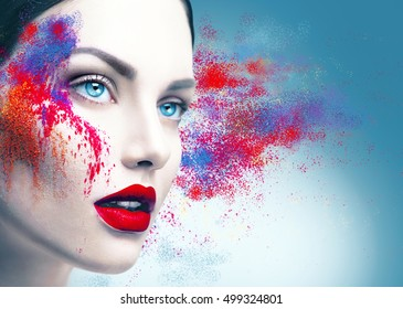 Fashion model girl portrait with colorful powder make up. Beauty woman bright color makeup. Close-up of Vogue style lady face, Abstract multicolor make-up, Art design. Makeup Pigment powder explosion