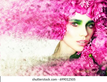 Fashion model girl portrait with colorful powder make up. Beauty woman bright color makeup. Close-up of Vogue style lady face. Abstract multicolor make-up. Art design. Photo processing. Effect photo