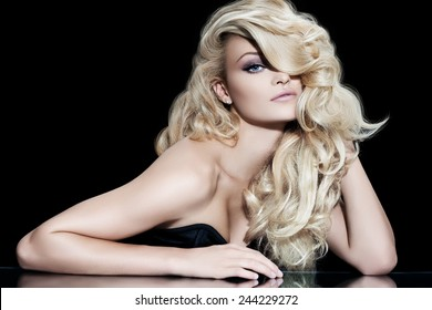 Fashion model with long blond hair.