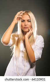 Fashion model with long blond hair
