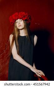 fashion model in long designers dress in night show