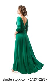 Fashion Model in Long Dress Back view, Woman Beauty in Gown Rear view, Full Length on White
