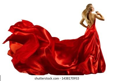 Fashion Model Long Red Dress, Woman In Waving Gown, Full Length Beauty Portrait On White