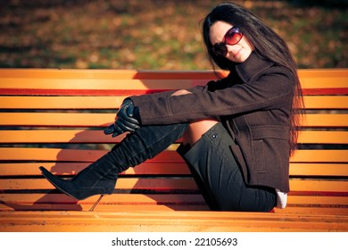 fashion model on the bench