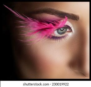 Fashion Model Portrait. Professional Makeup. False Eyelashes. Make-up