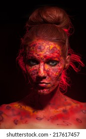 Fashion Model Portrait with red face art