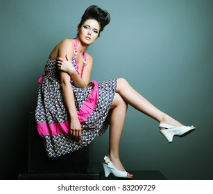 Fashion model. Posing in studio