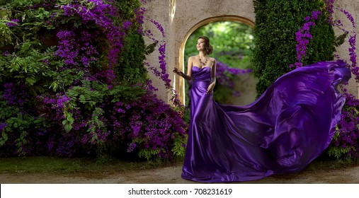 Fashion Model Purple Dress, Woman Long Silk Gown, Violet Garden Flowers, Flying Fabric
