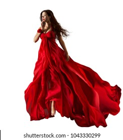 Fashion Model in Red Dress, Beautiful Woman Portrait, Waving Gown Fabric Fly through Air, Girl White Isolated