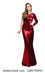 Fashion Model Red Sparkling Dress, Elegant Woman in Long Evening Gown, Girl Beauty Portrait Isolated over White Background