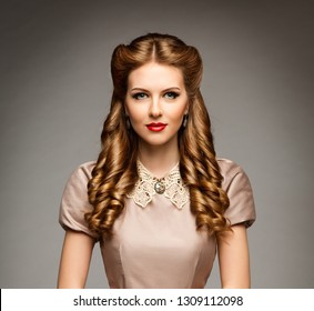 Fashion Model Retro Hairstyle, Elegant Woman Old Fashioned Curly Hair Style, Young Girl Beauty Portrait