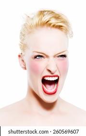 Fashion model screaming.