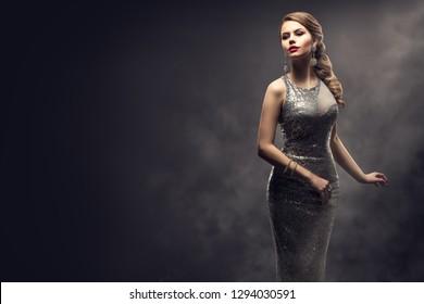Fashion Model Silver Dress, Elegant Woman in Sparkling Sexy Gown, Girl Beauty Studio Portrait