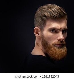 Fashion model with stylish hair and beard. Barber fashion and beauty. Portrait of handsome single bearded young man with serious expression