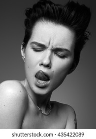 Fashion model test shoot black and white portrait