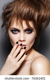 Fashion Model With Tousled Hair Make Up Manicure Portrait Of Young