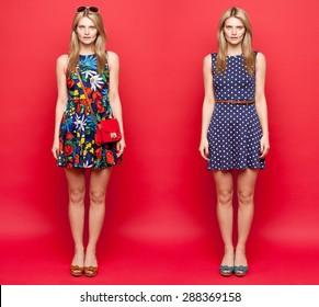 Fashion Model in Two cute outfits